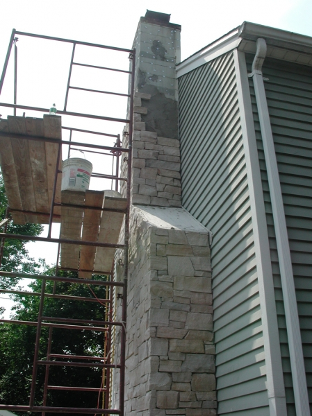 Masonry Stone Veneering Chimney